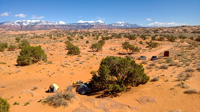 Camp looking out to the La Sal mountains.